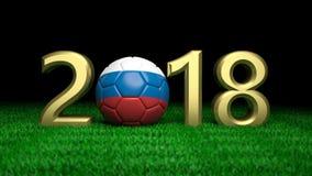 Nuovo anno 2018 con la palla di calcio di calcio della bandiera della Russia su erba, fondo nero illustrazione 3D Immagine Stock Libera da Diritti
