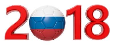 Nuovo anno 2018 con la palla di calcio di calcio della bandiera della Russia su fondo bianco illustrazione 3D Fotografia Stock Libera da Diritti