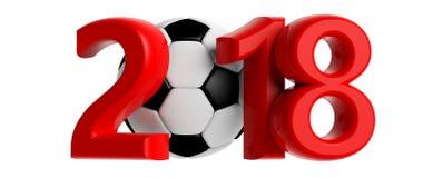 Nuovo anno 2018 con la palla di calcio di calcio su fondo bianco illustrazione 3D Fotografie Stock Libere da Diritti