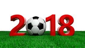 Nuovo anno 2018 con la palla di calcio di calcio sul campo verde, fondo bianco illustrazione 3D Fotografie Stock Libere da Diritti