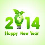 Nuovo anno creativo con la lampadina della terra di eco, 2014 Fotografia Stock