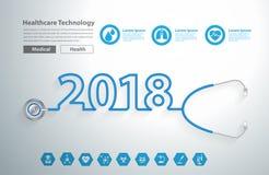 Nuovo anno creativo 2018 di progettazione del cuore dello stetoscopio Fotografie Stock Libere da Diritti