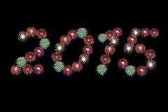 Nuovo anno 2015 dei fuochi d'artificio Fotografia Stock Libera da Diritti