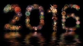 Nuovo anno 2016 dei fuochi d'artificio Immagini Stock Libere da Diritti