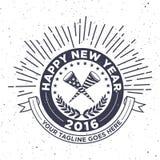 Nuovo anno 2016 dei pantaloni a vita bassa, distintivo e tromba, vettore afflitto Immagine Stock Libera da Diritti