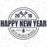 Nuovo anno 2016 dei pantaloni a vita bassa, distintivo e tromba, vettore afflitto Immagine Stock
