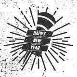Nuovo anno 2016 dei pantaloni a vita bassa, distintivo e tromba, vettore afflitto Fotografia Stock Libera da Diritti