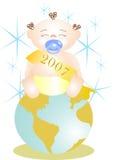 Nuovo anno del bambino sul mondo immagine stock