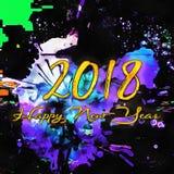 Nuovo anno 2018 del disegno con la spazzola Fotografia Stock Libera da Diritti