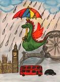 Nuovo anno del drago in Inghilterra Immagini Stock Libere da Diritti