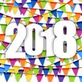 nuovo anno 2018 del fondo delle ghirlande Immagini Stock Libere da Diritti