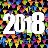 nuovo anno 2018 del fondo delle ghirlande Fotografia Stock Libera da Diritti