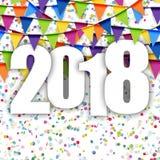 nuovo anno 2018 del fondo delle ghirlande Fotografie Stock Libere da Diritti