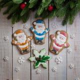 nuovo anno del pan di zenzero e Natale, pan di zenzero Santa Claus Fotografie Stock Libere da Diritti