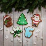 nuovo anno del pan di zenzero e Natale, pan di zenzero Santa Claus Immagine Stock