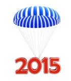 Nuovo anno 2015 del paracadute Fotografie Stock Libere da Diritti