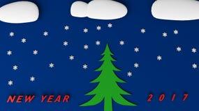 Nuovo anno 2017 del pupazzo di neve Fotografie Stock Libere da Diritti