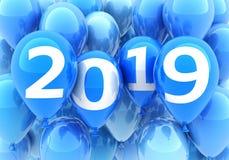 Nuovo anno 2019 del segno sul pallone blu illustrazione vettoriale