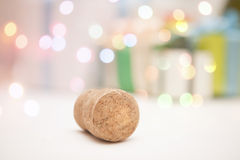 Nuovo anno 2015 del sughero del champagne di notte di San Silvestro Fotografie Stock Libere da Diritti