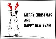 Nuovo anno della cartolina d'auguri del cane 2018 illustrazione di stock