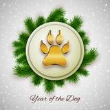 Nuovo anno della cartolina di festa del cane con l'orma della zampa, vettore illustrazione vettoriale