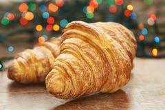 Nuovo anno Dessert di Natale Croissants freschi Fotografia Stock