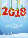 Nuovo anno 2018 di carta sgualcita come decorazione di natale Fotografia Stock Libera da Diritti