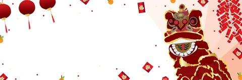 Nuovo anno di cinese dell'insegna di ballo di leone Fotografia Stock Libera da Diritti