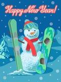 Nuovo anno di congratulazione della carta di sport invernali dell'illustrazione di vettore Pupazzo di neve con lo sci e snowboard royalty illustrazione gratis