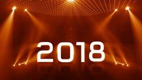 Nuovo anno 2018 di illuminazione dorato illustrazione di stock