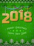 Nuovo anno 2018 di legno come decorazione di natale illustrazione di stock