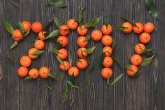 Nuovo anno 2017 di mandarini su fondo di legno, carta Immagine Stock