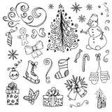 Nuovo anno di Natale di scarabocchio illustrazione di stock