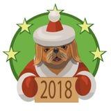 Nuovo anno 2018 di pechinese del cane Immagini Stock Libere da Diritti