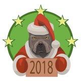 Nuovo anno 2018 di Pitbull di combattimento di cane Immagini Stock