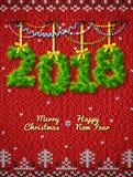 Nuovo anno 2018 di ramoscelli come decorazione di natale Immagine Stock