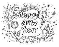 Nuovo anno di scarabocchio illustrazione vettoriale