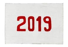 Nuovo anno 2019 dipinto sul bordo del compensato Anno del maiale immagine stock libera da diritti