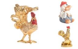 Nuovo anno dorato di simbolo della statua dei giocattoli dei galli della raccolta Immagine Stock Libera da Diritti