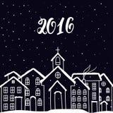 Nuovo anno e cartolina di Natale con le case nel vettore Fotografia Stock Libera da Diritti