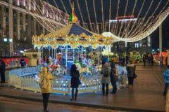 Nuovo anno e fiere e decorazioni di Natale nelle vie di Mosca Fotografia Stock Libera da Diritti