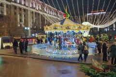 Nuovo anno e fiere e decorazioni di Natale nelle vie di Mosca Fotografie Stock Libere da Diritti