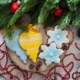 Nuovo anno e Natale del pan di zenzero Fotografia Stock