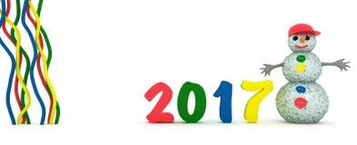 Nuovo anno e un pupazzo di neve su un fondo bianco Immagine Stock