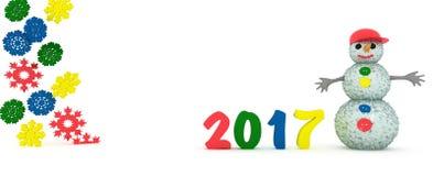 Nuovo anno e un pupazzo di neve su un fondo bianco Fotografie Stock Libere da Diritti