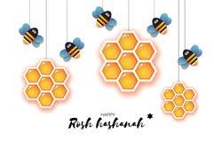 Nuovo anno ebreo, cartolina d'auguri di Rosh Hashanah Cellula e Honey Bee dell'oro del miele di esagono di origami nello stile de Illustrazione di Stock