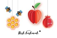 Nuovo anno ebreo, cartolina d'auguri di Rosh Hashanah Origami Apple rosso con e melograno, favo e Honey Bee in carta Royalty Illustrazione gratis
