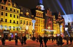 Nuovo anno Eve a Wroclaw Fotografia Stock Libera da Diritti