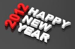 Nuovo anno felice 2012, testo sul nero Immagini Stock Libere da Diritti