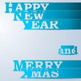 Nuovo anno felice blu & strisce di carta allegre di natale Immagini Stock Libere da Diritti